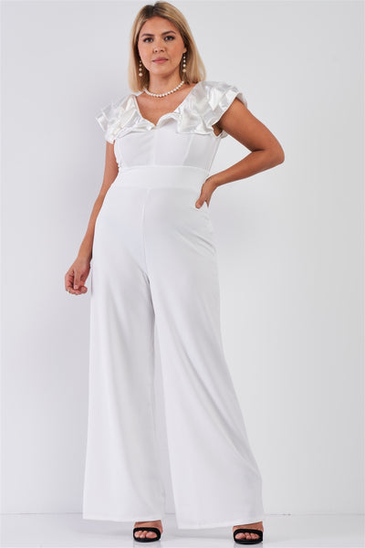 Plus Sleeveless Satin Ruffle Shoulder Detail V-neck Wide Leg Jumpsuit