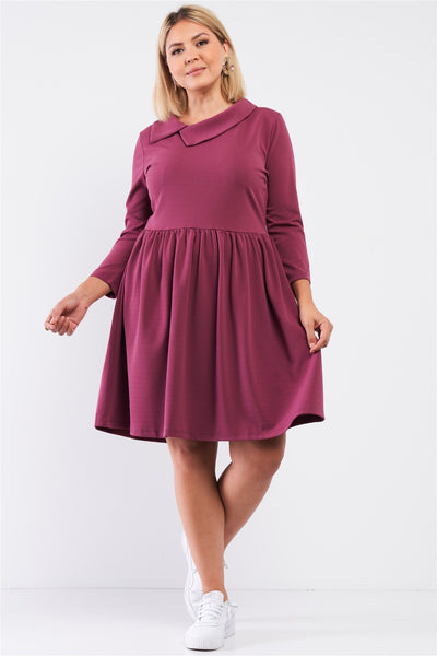 Plus Pleated Preppy Fit & Flare Long Sleeve Asymmetrical Peter Pan Collar Mini Dress