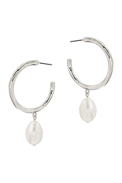 Fashion Open Hoop And Fresh Water Pearl Drop Earring