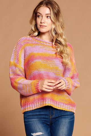 Multi-color Thread Striped Knit Sweater
