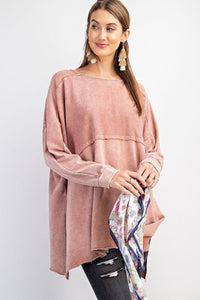 Terry Knit Upside Down Detailing Side Slits Pullover Tunic