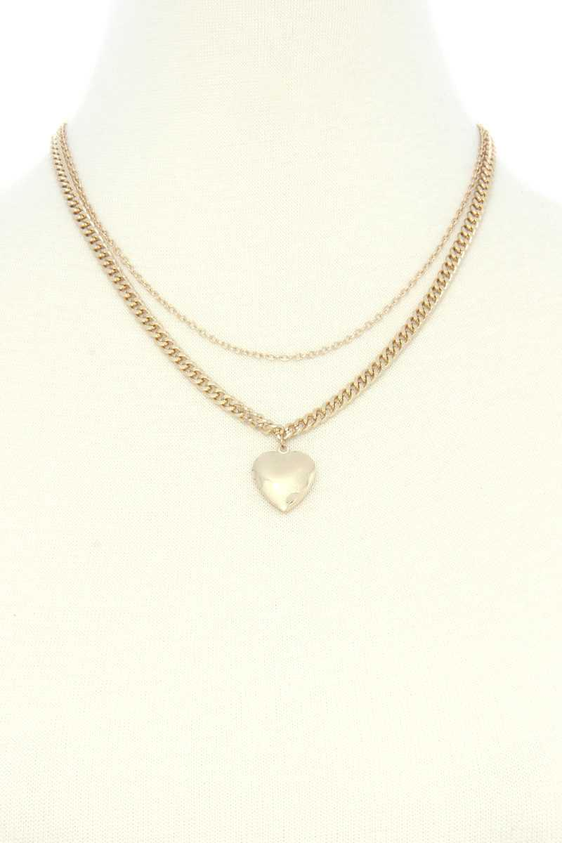 Heart Locket Charm Metal Layer Necklace