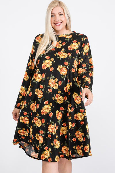 Floral Mock Neck Hidden Pocket Round Hem Midi Dress