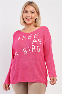 "Plus ""free As A Bird"" Logo Knit Sweater"