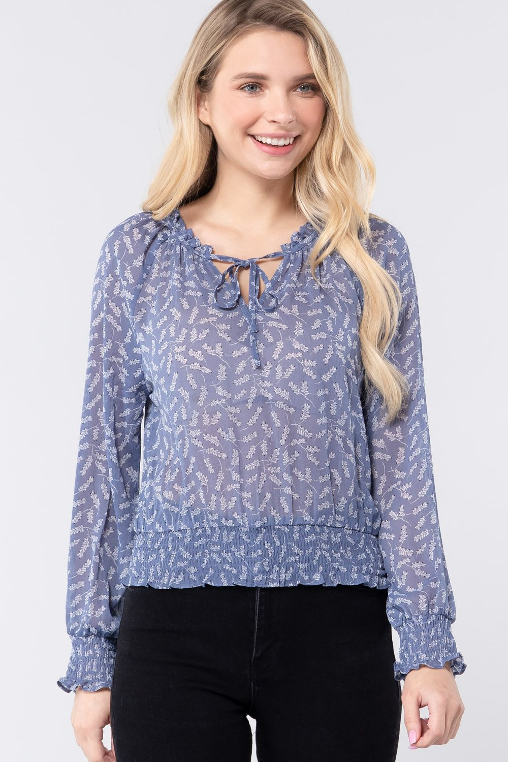 Long Sleeve Print Woven Top W/tie