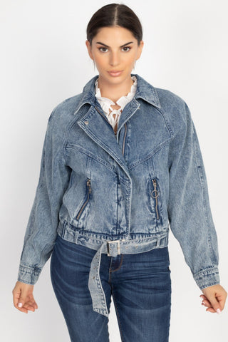 Ribbed Hem Belted Denim Jacket