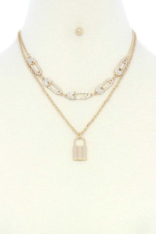 Saftey Pin Charm Link Layered Necklace