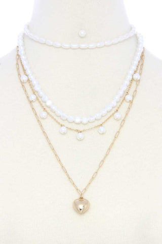 Puffy Heart Charm Pearl Bead Layered Necklace