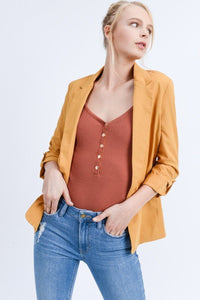 Open Front Roll Up Sleeve Blazer Jacket