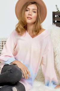Multi Sherbet Tie Dye Color V Neck Sweater