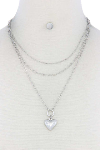 Puffy Heart Charm Layered Necklace