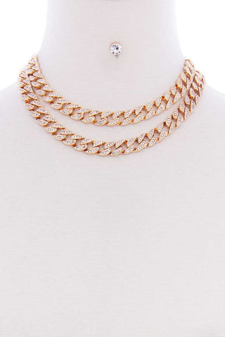 2 Layered Link Metal Chain Stud Stone Short Necklace Earring Set