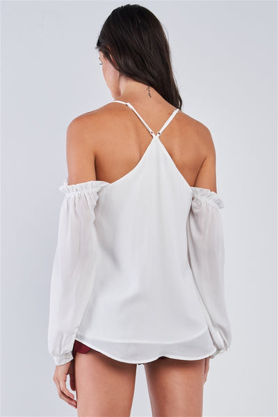 Ariana White Relaxed Fit V-neck Off-the-shoulder Long Sleeve Ruffle Hem Razor Back Top