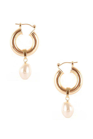 Pearl Dangle Huggie Earring
