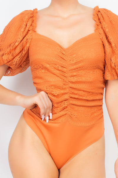 Front-ruched Lace Bodysuit (woven)