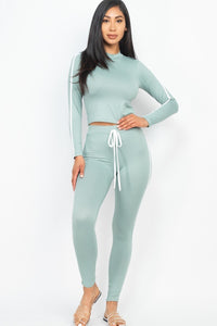 Side Striped Crop Top And Leggings Set