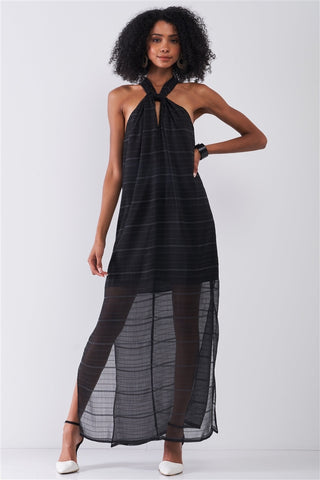 Black Stripped Chiffon Sleeveless Criss-cross Halter Neck Maxi Dress