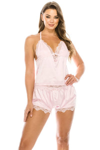 2 Piece Satin Lace Trimed Pj Short Set