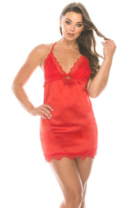 2 Piece Satin Lace Trimmed Slip Set With Matching Thong