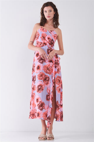 Floral Print Sleeveless Self-tie Wide Wrap Front Ruffle Hem Side Slit Detail Midi Dress