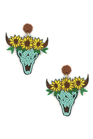 Seed Bead Carved Cow Skull Sunflower Dangle Earring