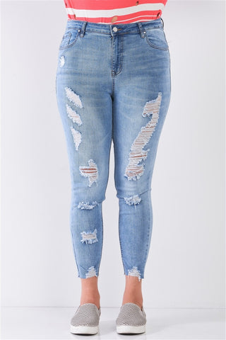 Plus Size Denim Mid-rise Raw Hem Detail Ripped Skinny Jean Pants