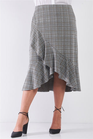 Plus Size Plaid Grey High-waist Midi Skirt