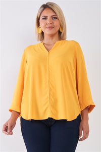 Plus Size Tuscan Sun Yellow V-neck Midi Sleeve Pleated Back Detail Relaxed Tunic Top