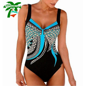 Black Vintage Tankini Print Plus size Swimsuit  One piece