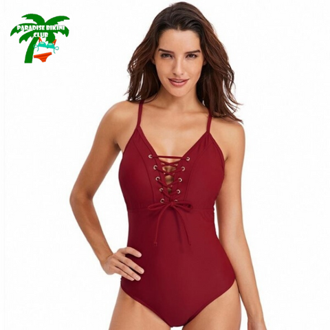 Women Bikini High Waisted Lace Up One Piece Swimsuit