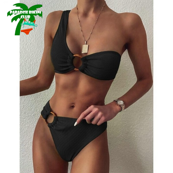 One Shoulder High Waist Ring Bikini