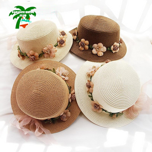 2019 Parent-child Summer New Women's Sun Hat Bucket cap beige lace Bowknot Flowers Ribbon Flat top Straw Hat Beach Caps Panama
