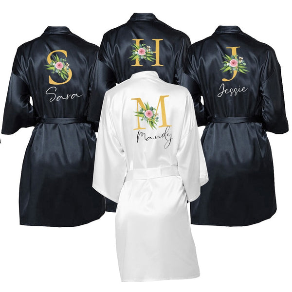 Wedding Dressing Gown Personalised Names BRIDE&Bridesmaid Satin Custom Robes for Gifts Mother of Bride/Groom Squad Sleepingwear