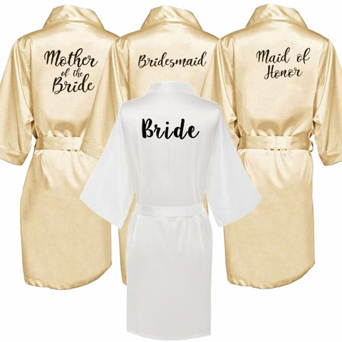 champagne gold robe bride satin kimono robe women wedding sister of the bride printing bridesmaid bridal party robes