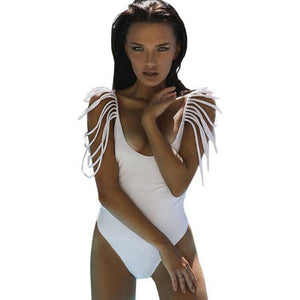 High Waist Monokini Push Up Solid Swimsuit One-piece