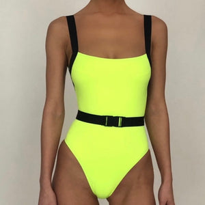Women Neon Yellow Belt Buckle One Piece Swimsuit