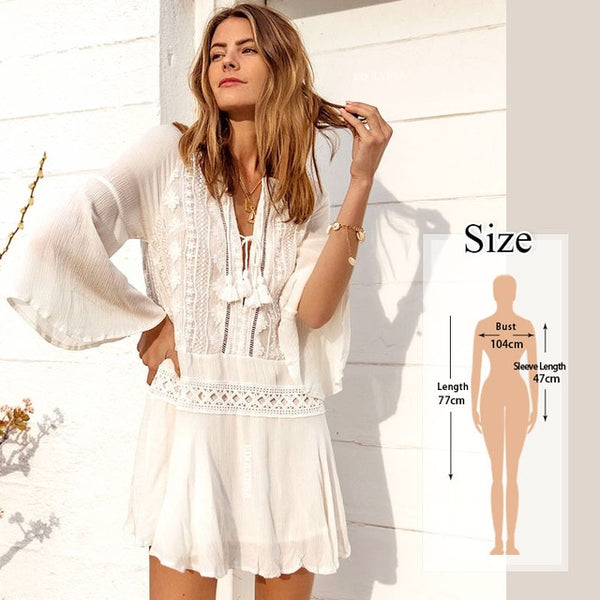 Women Swimsuit Cover Ups Mandarin Sleeve Kaftan Beach Tunic Dress Robe De Plage Solid White Pareo Beach Cover-ups  #Q429