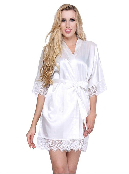 Sexy Lace Silk Satin Wedding Short Kimono Robe