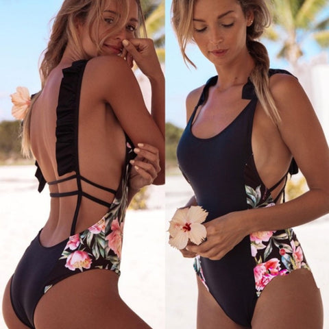 Women Summer Beachwear Flower Print One Piece Swimsuit