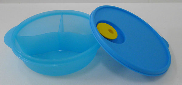 Tupperware Microwave Reheatable Blue Crystalwave Divided Dish Lunch Box