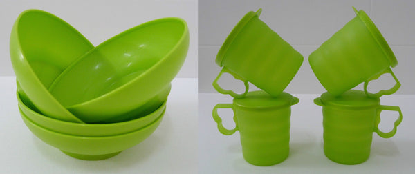 Tupperware Blossom Mugs & Seals 350ml & Microwaveable Bowls 600ml - 4 each