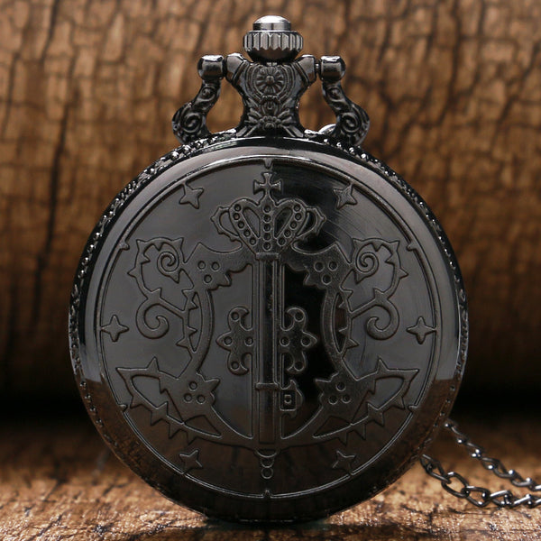 Black Butler Kuroshitsuji Sebastian Theme Pocket Watch With Necklace Chain