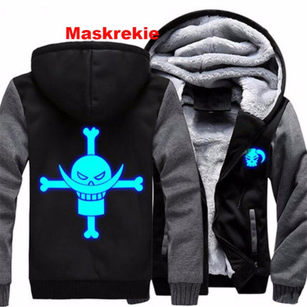 One Piece Anime Edward Newgate Cosplay Luminous Jacket Hoodie Coat USA size