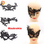 Halloween Black Sexy Lady Lace Mask Cutout Eye Mask For Masquerade Party Fancy Dress Costume