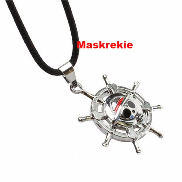 One Piece Cool Luffy Straw Hat Skull Pendant Necklace