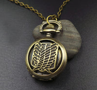 Attack on Titan Bronze Antiques Pocket Watch with Necklace Cosplay