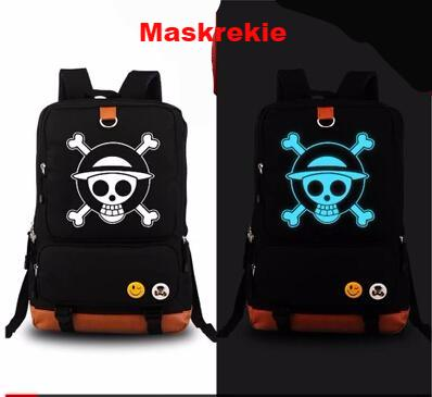 One Piece Anime Luffy Chopper Skull Luminous Glow in the Dark Canvas Backpack