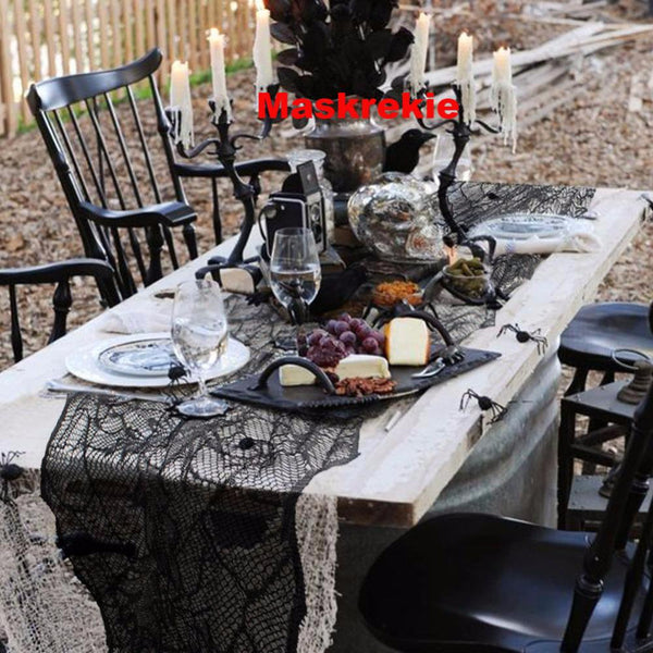 Halloween Black Leaf Table Runners for 188*55cm Tablecloth Haunted House Halloween Party Decoration