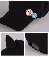 Neon Genesis Evangelion EVA Asuka Langley Soryu Cat Ear Polar Fleece Cosplay Hat Baseball Cap + badges