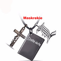 Death Note  L Yagami Black Gold Metal Necklace Cross Logo Pendant Necklace  Zinc Alloy